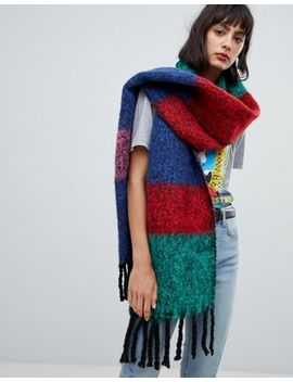 Asos Design Oversized Bright Fluffy Scarf In Stripe by Asos Design