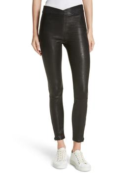 Overlap Waist Leather Pants by Frame