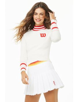 Wilson Ribbed Striped Trim Logo Turtleneck by Forever 21