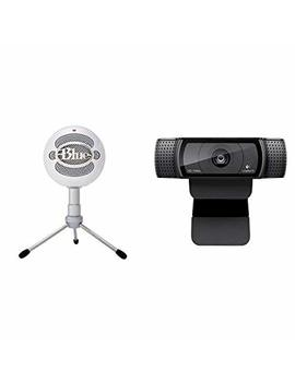 Blue Microphones Snowball I Ce Condenser Microphone, Cardioid   White, With Logitech C920 Webcam Hd Pro by Amazon