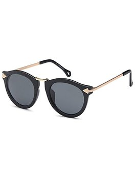 Catwalk Uv400 Womens Round Cat Eye Sunglasses With Design Fashion Frame And Flash Lens Option by Catwalk