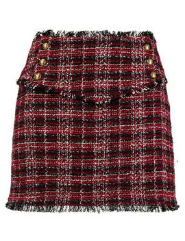 Frayed Tweed Mini Skirt by Pinko