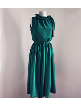Loose Fitting Sleeveless Scarf Like Turtleneck Emerald Green Dress With A Matching Fabric Belt. Retro Inspired, New And Made To Your Measure by Celeste Couture Shop