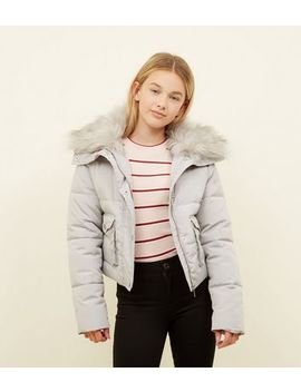 Girls Dark Grey Faux Fur Trim Short Puffer Coat by New Look