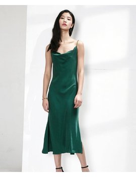 Sale Cowl Neck  Green Midi Slip Dress Gown Alashanghai Alashanghai by Alashanghai