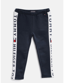 Tommy Hilfiger Girls Navy Blue Solid Track Pants by Tommy Hilfiger