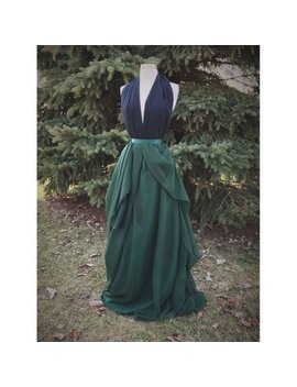 Asymmetrical Bridal Skirt, Emerald Green Chiffon Maxi Skirt, Wedding Dress by Shop Vmarie