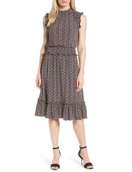 tulip-print-smocked-waist-dress by michael-michael-kors