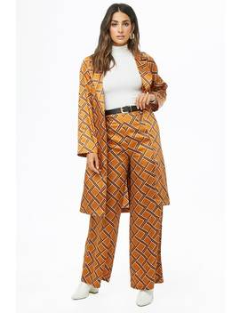 Geo Print Satin Wide Leg Pants by Forever 21