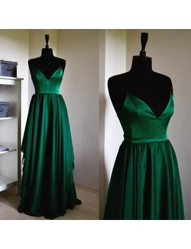 Fairy Tail Silk Chiffon Emerald Maxi Dress In Spaghetti Straps, Silk Chiffon Bridesmaid Dress, Green Prom Long Dress, Sweetheart Dress by Modayladans