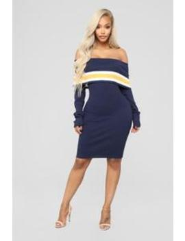 High School Sweetheart Sweater Dress   Navy/Combo by Fashion Nova