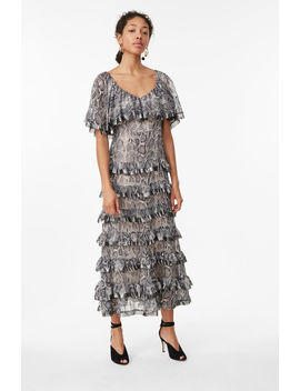 Snake Print Tiered Ruffle Dress by Rebecca Taylor