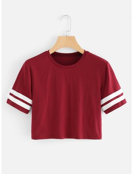 Stripe Side Sleeve Tee by Romwe