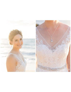 Crystal Bridal Necklace, Simple Wedding Pendant, Crystal Drop Bridal Necklace, Swarovski Pearl, Adison Bridal Necklace by Crystal Avenues
