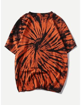 Men Tie Dye Solider Basic Tee by Romwe