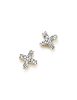 14 K Yellow Gold Pavé Diamond Tiny X Stud Earrings by Adina Reyter