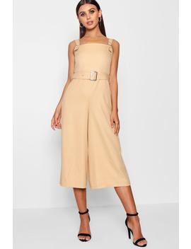 Petite Belted Square Neck Woven Jumpsuit by Boohoo