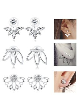 Jstyle 3 Pairs Lotus Flower Earrings Jackets For Women Girls Simple Chic Ear Stud Earrings by Jstyle