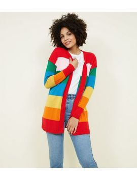 Rainbow Stripe Longline Cardigan by New Look