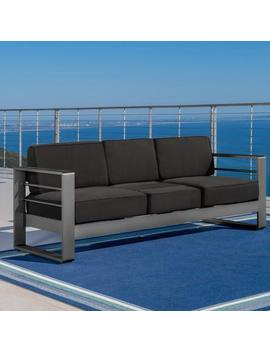 Crested Bay Outdoor Gray Aluminum Sofa Couch With Water Resistant Cushions by Gdf Studio