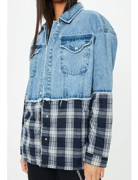 Blue Oversized Check Mix Denim Jacket by Missguided