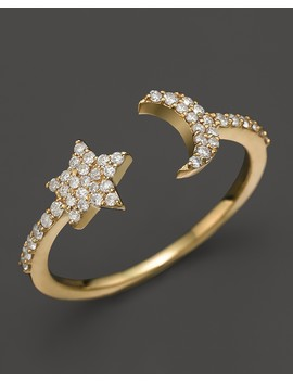 14 K Yellow Gold Moon & Star Ring With Diamonds by Meira T