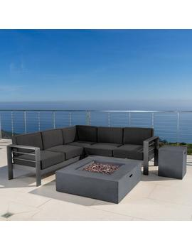 Coral Bay Outdoor Grey Aluminum 5 Piece V Shape Sectional Sofa Set With Fire Table by Gdf Studio
