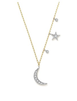 "14 K White And Yellow Gold Diamond Moon And Star Pendant Necklace, 16"" by Meira T"