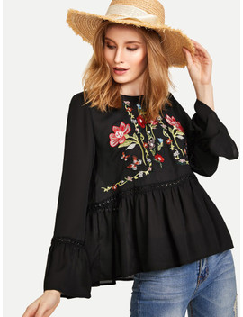 Shein Trumpet Sleeve Flower Embroidered Smock Top by Shein