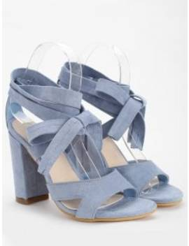 Crisscross Block Heel Ankle Strap Lace Up Sandals   Light Blue 39 by Zaful
