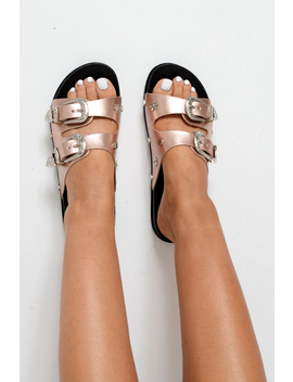Rose Gold Pu Snowflake Western Buckle Sandals   Ellington by Rebellious Fashion