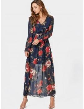 V Neck Floral Print Belted Maxi Dress   Floral M by Zaful