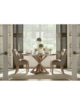 Abbott Rustic Round Stainless Steel Strap Oak Trestle Dining Set By I Nspire Q Artisan by I Nspire Q