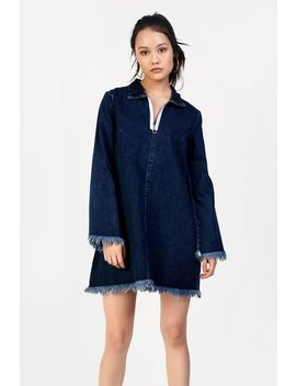 **Denim Zip Front Dress By Glamorous by Topshop