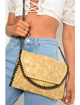Yellow Faux Suede Chain Trim Cross Body Bag   Deina by Rebellious Fashion