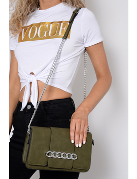 Khaki Chain Front Shoulder Bag   Layal by Rebellious Fashion