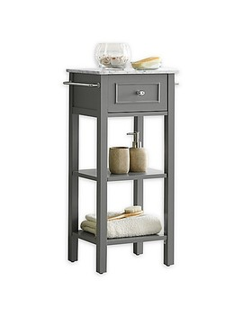 Carrara Marble Top Floor Cabinet In Grey by Bed Bath And Beyond