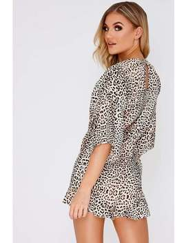 Fairlie Leopard Print Frill Wrap Playsuit by In The Style