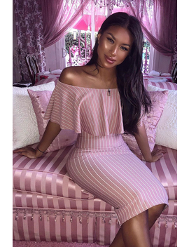 Mauve Pinstripe Frill Bardot Bodycon Midi Dress  Jovey by Rebellious Fashion