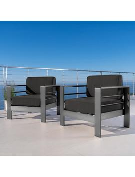 Crested Bay Outdoor Gray Aluminum Club Chairs With Water Resistant Cushions by Gdf Studio