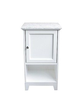 Carrara Marble Top Floor Cabinet In White by Bed Bath And Beyond