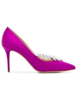 Manolo Blahnikpink Nadira 90 Crystal Silk Satin Pumpshome Women Manolo Blahnik Shoes Pumps by Manolo Blahnik