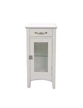 1 Drawer Bathroom Floor Cabinet With Glass Door In White by Bed Bath And Beyond