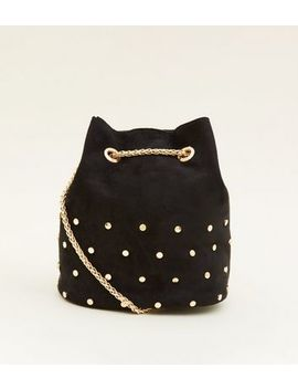 Black Suedette Studded Mini Duffle Bag by New Look