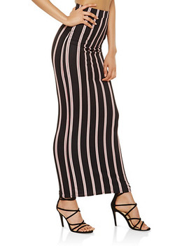 Striped Soft Knit Maxi Skirt by Rainbow
