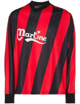 Martine Roseasymmetric Stripe Twisted Logo Football Tophome Men Martine Rose Clothing T Shirts by Martine Rose