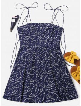Tied Straps Mini Pattern Dress   Deep Blue M by Zaful