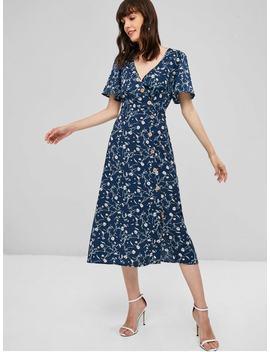 Surplice Floral Midi Flowy Dress   Midnight Blue S by Zaful
