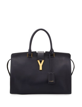 Classic Cabas Y Ligne Medium Leather Carryall Bag, Navy by Saint Laurent