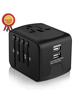 Universal Travel Adapter, Haozi All In One International Power Adapter With 2.4 A Dual Usb, Europe Adapter Travel Power Adapter Wall Charger For Uk, Eu, Au, Asia Covers 150+Countries (Black) by Hao Zi